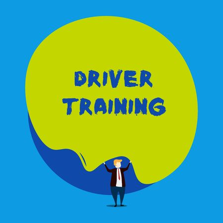 Photo pour Conceptual hand writing showing Driver Training. Concept meaning prepares a new driver to obtain a driver s is license Male human wear formal tuxedo hold asymmetrical shape bubble - image libre de droit