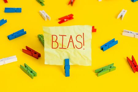 Photo for Conceptual hand writing showing Bias. Concept meaning inclination or prejudice for or against one demonstrating group - Royalty Free Image