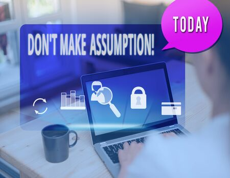 Photo for Text sign showing Don T Make Assumption. Business photo text something that you assume to be case even without proof - Royalty Free Image