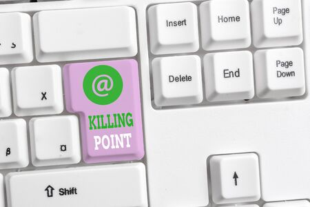 Foto de Text sign showing Killing Point. Business photo text Phase End Review Stage Gate Project Evaluation No Go White pc keyboard with empty note paper above white background key copy space - Imagen libre de derechos