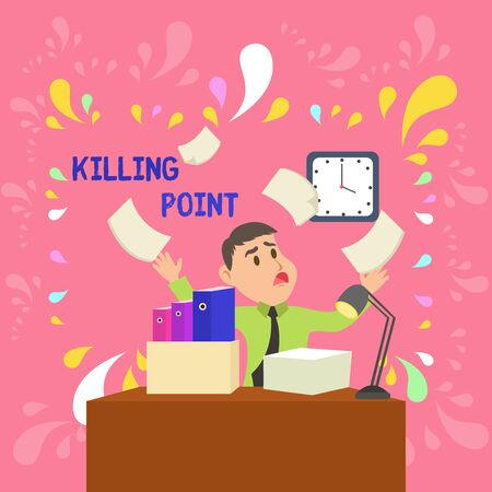 Foto de Word writing text Killing Point. Business photo showcasing Phase End Review Stage Gate Project Evaluation No Go Confused Male Employee Manager Cluttered Workspace Overflow Time Shortage - Imagen libre de derechos