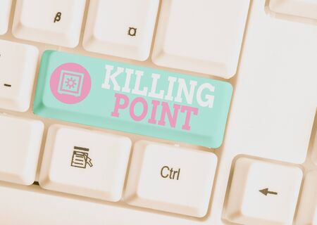 Foto de Writing note showing Killing Point. Business concept for Phase End Review Stage Gate Project Evaluation No Go White pc keyboard with note paper above the white background - Imagen libre de derechos