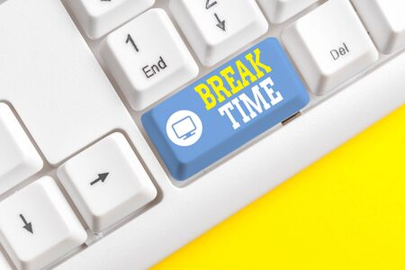 Photo for Text sign showing Break Time. Business photo showcasing Period of rest or recreation after doing of certain work White pc keyboard with empty note paper above white background key copy space - Royalty Free Image