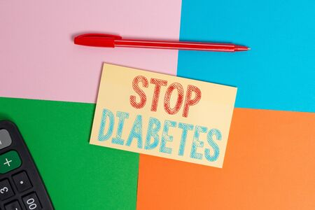 Foto per Writing note showing Stop Diabetes. Business concept for Blood Sugar Level is higher than normal Inject Insulin Office appliance square desk study supplies paper sticker - Immagine Royalty Free