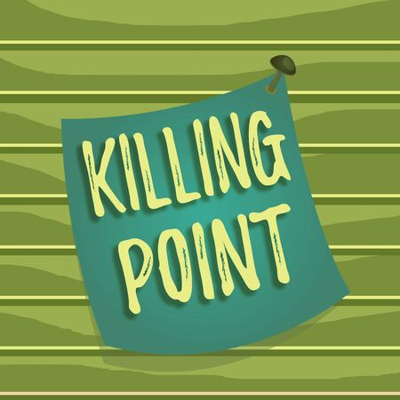 Foto de Conceptual hand writing showing Killing Point. Concept meaning Phase End Review Stage Gate Project Evaluation No Go Curved reminder paper memo nailed colorful surface pin frame - Imagen libre de derechos