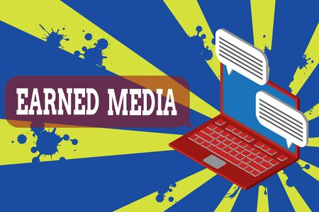 Photo pour Writing note showing Earned Media. Business concept for publicity gained through promotional efforts other than paid Laptop receiving sending information internet wireless - image libre de droit