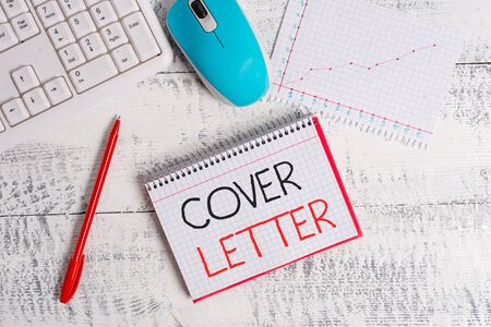 Photo for Conceptual hand writing showing Cover Letter. Concept meaning document explaining the applicant s is credentials and interest Wood desk office appliance computer equipaments charts paper slot - Royalty Free Image