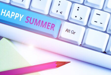Photo for Handwriting text Happy Summer. Conceptual photo Beaches Sunshine Relaxation Warm Sunny Season Solstice White pc keyboard with empty note paper above white background key copy space - Royalty Free Image