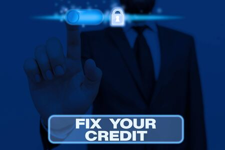 Photo for Writing note showing Fix Your Credit. Business concept for Keep balances low on credit cards and other credit - Royalty Free Image