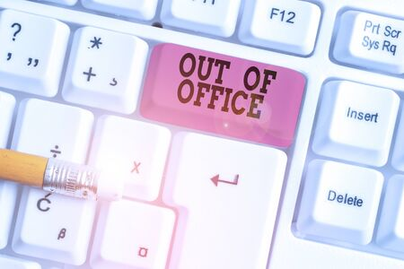 Photo for Word writing text Out Of Office. Business photo showcasing Outside the job Nobody in business Break Leisure Relax time White pc keyboard with empty note paper above white background key copy space - Royalty Free Image