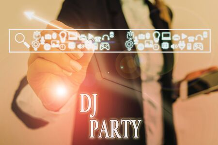 Photo for Word writing text Dj Party. Business photo showcasing demonstrating who introduces and plays recorded popular music on radio - Royalty Free Image
