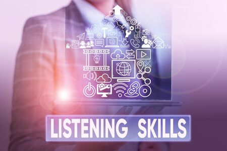 Foto de Text sign showing Listening Skills. Business photo text ability to understand information provided by the speaker - Imagen libre de derechos