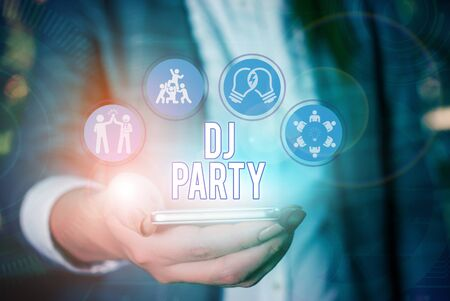 Photo for Conceptual hand writing showing Dj Party. Concept meaning demonstrating who introduces and plays recorded popular music on radio - Royalty Free Image