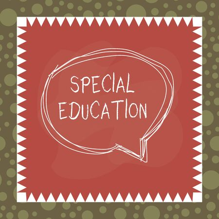 Foto de Text sign showing Special Education. Business photo showcasing form of learning given to students with mental challenges Speaking bubble inside asymmetrical shaped object outline multicolor design - Imagen libre de derechos