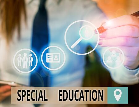 Foto de Text sign showing Special Education. Business photo text form of learning given to students with mental challenges - Imagen libre de derechos