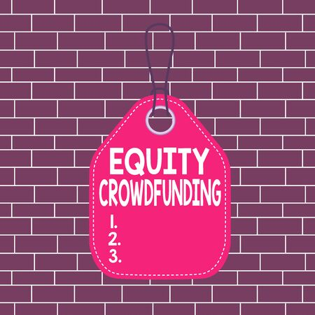 Photo for Text sign showing Equity Crowdfunding. Business photo showcasing raising capital used by startups and earlystage company Empty tag blank space colorful background label rectangle attached string - Royalty Free Image
