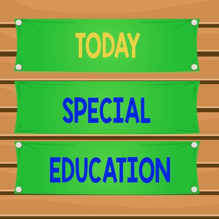Foto de Conceptual hand writing showing Special Education. Concept meaning form of learning given to students with mental challenges Wooden panel attached nail on colorful background plank wood - Imagen libre de derechos