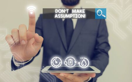 Photo for Writing note showing Don T Make Assumption. Business concept for something that you assume to be case even without proof - Royalty Free Image