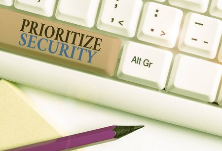 Photo pour Conceptual hand writing showing Prioritize Security. Concept meaning designate security risk as more important to solve - image libre de droit