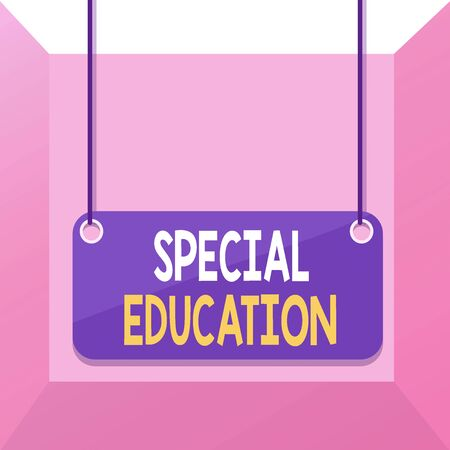 Foto de Conceptual hand writing showing Special Education. Concept meaning form of learning given to students with mental challenges Board color background plank attached string panel rectangle - Imagen libre de derechos