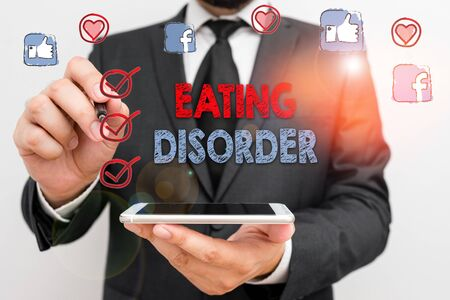 Photo for Conceptual hand writing showing Eating Disorder. Concept meaning illnesses that are characterized by irregular eating habits - Royalty Free Image