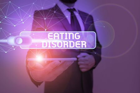 Photo for Writing note showing Eating Disorder. Business concept for illnesses that are characterized by irregular eating habits - Royalty Free Image