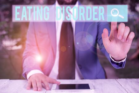 Photo for Word writing text Eating Disorder. Business photo showcasing illnesses that are characterized by irregular eating habits - Royalty Free Image