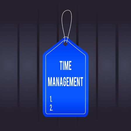 Photo pour Writing note showing Time Management. Business concept for the ability to use one time effectively or productively Empty tag colorful background label rectangle attach string - image libre de droit