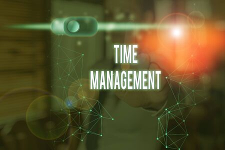 Photo pour Conceptual hand writing showing Time Management. Concept meaning the ability to use one time effectively or productively - image libre de droit