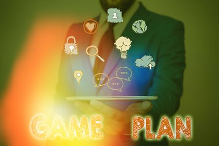 Photo for Conceptual hand writing showing Game Plan. Concept meaning strategy worked out in advance in sport politics or business - Royalty Free Image