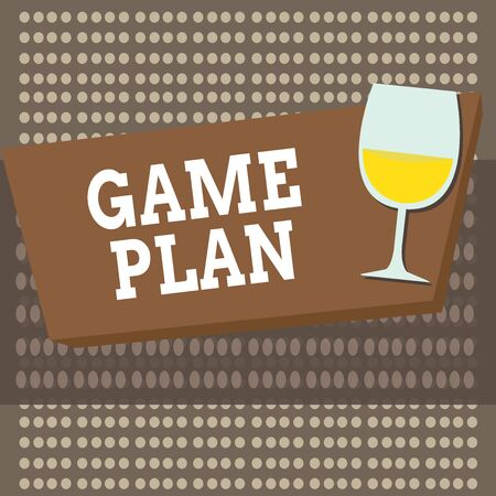 Photo for Conceptual hand writing showing Game Plan. Concept meaning strategy worked out in advance in sport politics or business Halftone Goblet Glassware filled with Wine Rectangular Form - Royalty Free Image