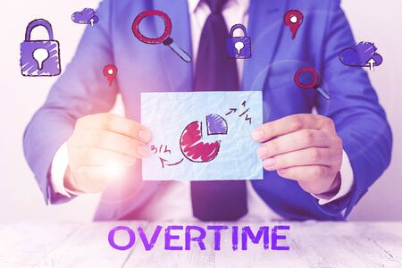Photo for Conceptual hand writing showing Overtime. Concept meaning Time or hours worked in addition to regular working hours - Royalty Free Image