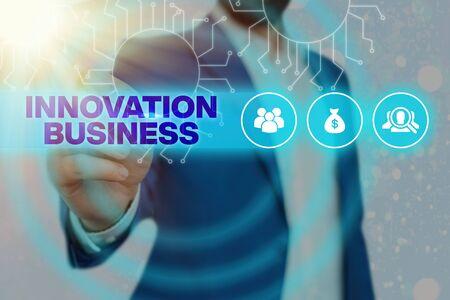 Photo pour Handwriting text Innovation Business. Conceptual photo Introduce New Ideas Workflows Methodology Services - image libre de droit