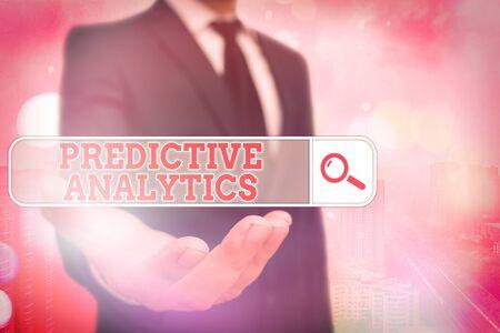 Foto de Conceptual hand writing showing Predictive Analytics. Concept meaning Optimize Collection Achieve CRM Identify Customer - Imagen libre de derechos