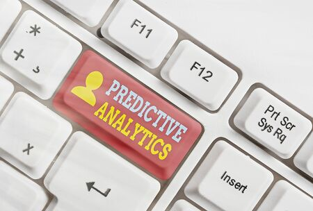Foto de Text sign showing Predictive Analytics. Business photo showcasing Optimize Collection Achieve CRM Identify Customer - Imagen libre de derechos