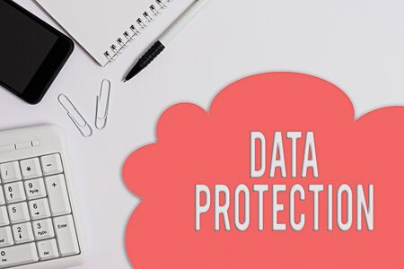 Foto de Text sign showing Data Protection. Business photo showcasing Protect IP addresses and an individualal data from harmful software Business concept with blank white space for advertising and text message - Imagen libre de derechos