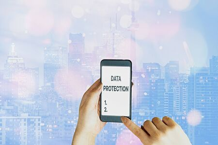 Foto de Handwriting text writing Data Protection. Conceptual photo Protect IP addresses and an individualal data from harmful software - Imagen libre de derechos