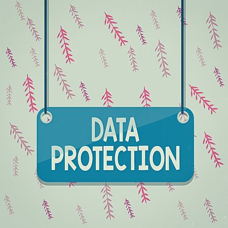 Foto de Handwriting text Data Protection. Conceptual photo Protect IP addresses and an individualal data from harmful software Board color background plank attached string panel rectangle empty surface - Imagen libre de derechos