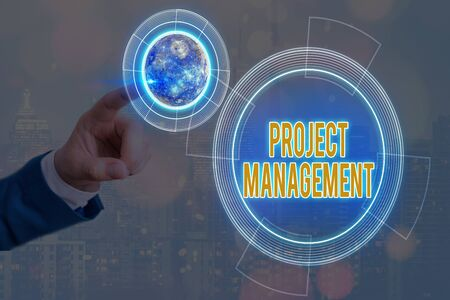 Foto de Conceptual hand writing showing Project Management. Concept meaning practice of the work of a team to achieve specific goals Solar system image. - Imagen libre de derechos