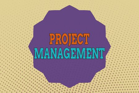 Foto de Conceptual hand writing showing Project Management. Concept meaning practice of the work of a team to achieve specific goals Twelve 12 Pointed Star Dodecagon in Zigzag effect Polygon - Imagen libre de derechos