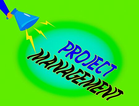 Foto de Writing note showing Project Management. Business concept for practice of the work of a team to achieve specific goals Hu analysis Holding Megaphone with Lightning Sound Effect - Imagen libre de derechos