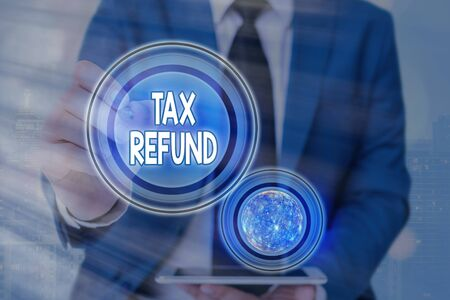 Photo pour Text sign showing Tax Refund. Business photo text excess payment of paid taxes returned to business owners Futuristic icons solar system. - image libre de droit
