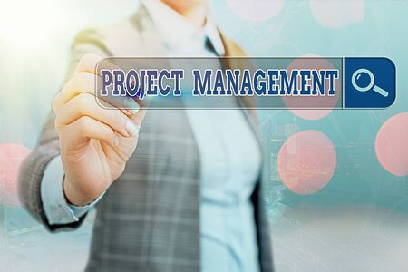 Foto de Writing note showing Project Management. Business concept for practice of the work of a team to achieve specific goals Web search digital information futuristic technology network connection - Imagen libre de derechos