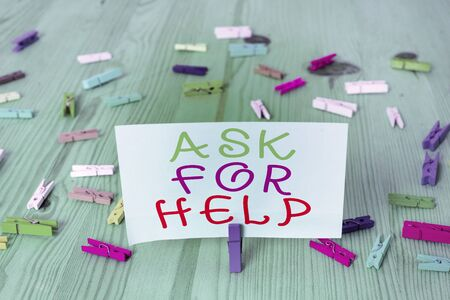 Photo for Conceptual hand writing showing Ask For Help. Concept meaning put a question or seek an answer or assistance from someone Colored crumpled rectangle shape paper light blue background - Royalty Free Image