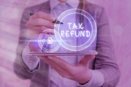 Photo pour Text sign showing Tax Refund. Business photo showcasing excess payment of paid taxes returned to business owners Graphics padlock for web data information security application system - image libre de droit