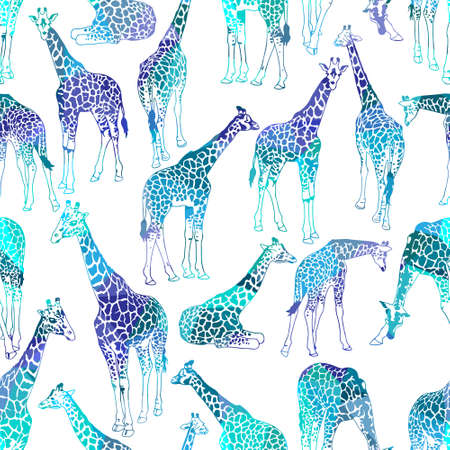 Illustration pour Vector abstract seamless pattern with giraffes - image libre de droit