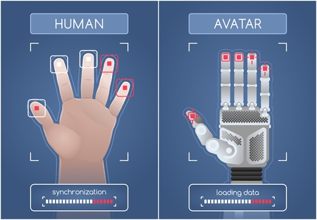 Ilustración de Human To Robot / Avatar Interface. Men's hands and robot hands, synchronizing and interacting through the computer interface. Graphic illustration on the subject of 'Future Technology'. - Imagen libre de derechos