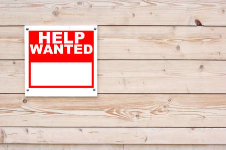 Photo for HELP WANTED Red White Sign on Timber Wall Background - Royalty Free Image