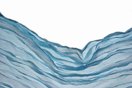 Corner Blue Aqua Water Wavy Fabric Textured Background With Free Copy Space For Text Or Image