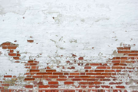 Foto de Old Vinyage Red Brick Wall With Sprinkled White Plaster Texture Background - Imagen libre de derechos